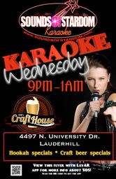 GQ's Craft House - Wednesdays 9pm - 1am 4497 N. University Dr. Lauderhill
