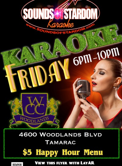 Woodlands Country Club - Fridays 6pm-10pm 4600 Woodlands Blvd. Tamarac